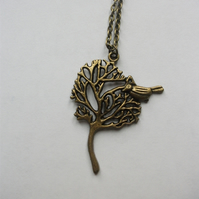 Bronze Tree and Bird Long necklace