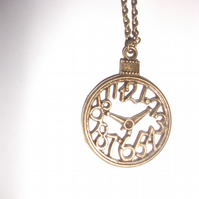 Lovely Bronze Clock Vintage Necklace