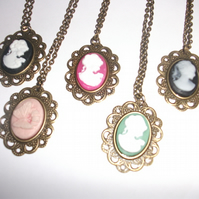 Bronze Vintage Cameo Long Necklace