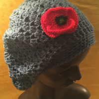 Crochet  flower poppy  detail hat .