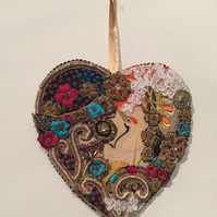 Wooden hanging heart crane bird  decoration , Japanese inspired