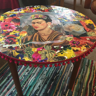 Frida Kahlo upcycled  coffee table , with original flower photography