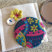 Liberty Fabric Handbag Mirror with Pouch