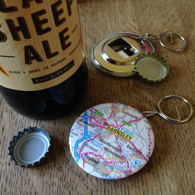 Bottle Opener Keyring - Barnsley Map