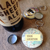 Map Bottle Opener - made to order with your choice of location