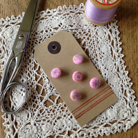 Fabric Covered Buttons - Vintage Pink