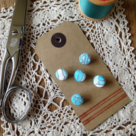 Fabric Covered Buttons - Vintage Turquoise