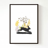 NEW! Leaping Hare (A4) Print
