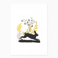 NEW - Leaping Hare Greetings Card
