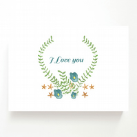 NEW - I Love You - Floral Valentines Card