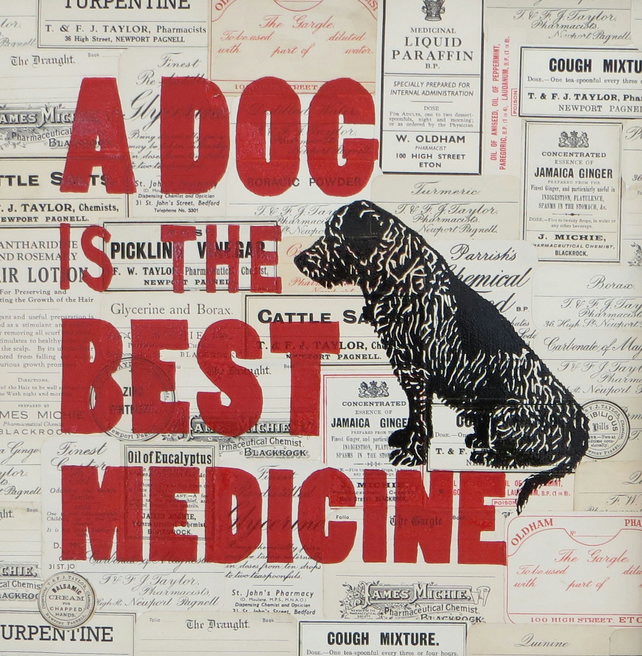 A Dog is the Best Medicine: Original print & collage