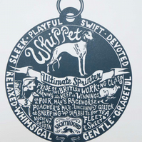 Whippet Story Dog Tag Print