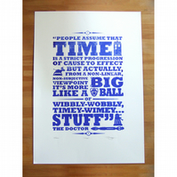 Dr Who 'Time' Hand Pulled Limited Edition Screen Print