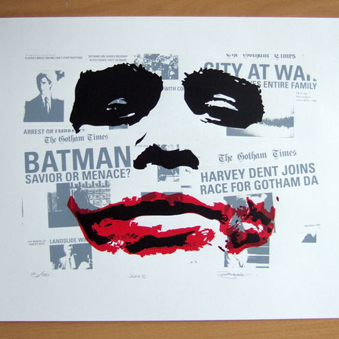 Batman Heath Ledger 'The Joker' Hand Pulled Limited Edition Screen Print