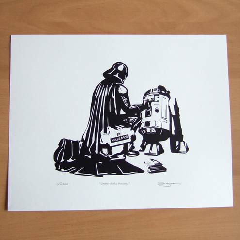 Darth Vader Star Wars 'Vader Goes Postal' Hand Pulled Limited Ed. Screen print