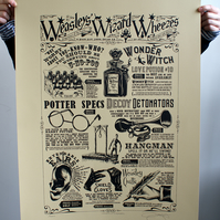 "Harry Potter ""Weasley's Wheezes' Hand Pulled Limited Edition Screen Print"