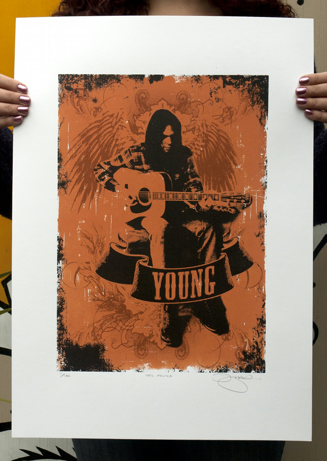 Hand Pulled Limited Edition 'Neil Young' Screen Print