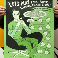 The Big Bang Theory 'Rock, paper, scissors, lizard, Spock' Hand Screen print