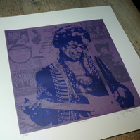 Jimi Hendrix Hand Pulled Limited Edition Screen Print