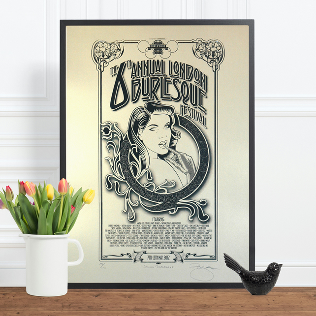 London 2012 Burlesque Festival Limited Edition Screen Printed Poster