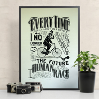 H.G Wells 'Bicycle' Hand Pulled Limited Edition Screen Print