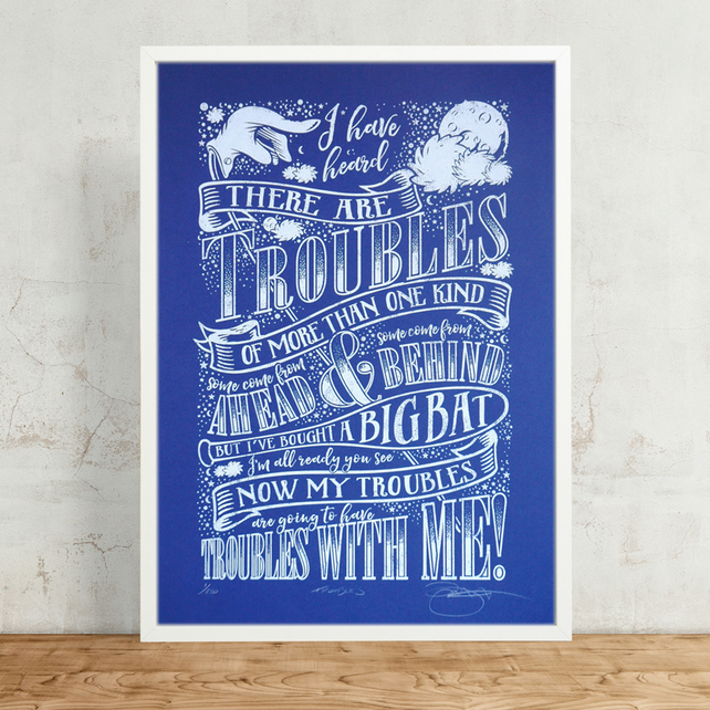 Dr.Seuss 'Troubles' Hand Pulled Limited Edition Screen Print