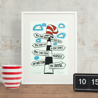 Dr.Seuss 'Oh The Places' Hand Pulled Screen Print
