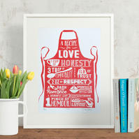Recipe for Love Hand Pulled Limited Edition Screen Print