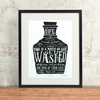 Billy Connolly 'Wasted' Hand Pulled Limited Edition Screen Print