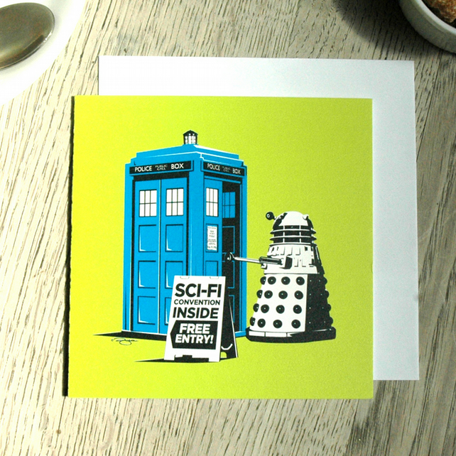 Dr Who Funny Geeky Blank Greetings card