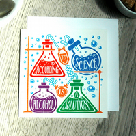 Alcohol Funny Geeky Blank Greetings card