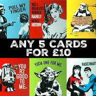 Any 5 Funny Greetings cards Mix and Match Set