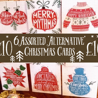 Pack of 6 Alternative Christmas cards