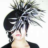 Black and Ivory Silk Saucer Hat with Silk Organza lily's