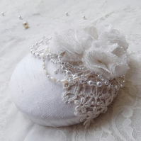 Ivory Lace & Silk Bridal Pillbox Hat 1920s Inspired