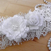 The Veil Garter, Silk, Veil and Lace Roses