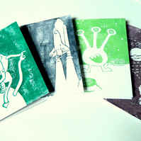 Set Greetings Cards. Four Science Cards. 5 x 7 Blank Birthday Cards.