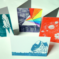 Science Greetings Cards x 4. Set of Four. 5 x 7 Blank Birthday Cards.