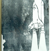 Hand-printed Shuttle Card. 5 x 7 Greetings Card. Rocket Take Off Card.