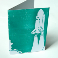 "Hand-printed Shuttle Card. 5"" x 7"" Greetings Card. Rocket Take Off Card."