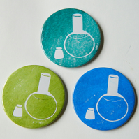 Chemistry Pocket Mirror. Handbag Mirror, hand printed florence flask, science.
