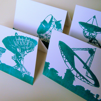 Radio Telescope Card Set. 4 Cards depicting famous space telescopes