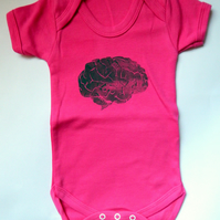 Pink Brain Bodysuit. Baby Girl Clothes. Science Geek Baby Anatomy