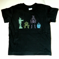 SALE Robots T-Shirt. Hand-Printed Science Clothing. Happy Robots. Childrens Robo
