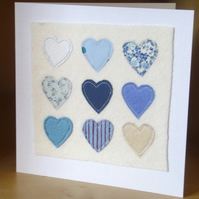 Blue hearts Valentines card