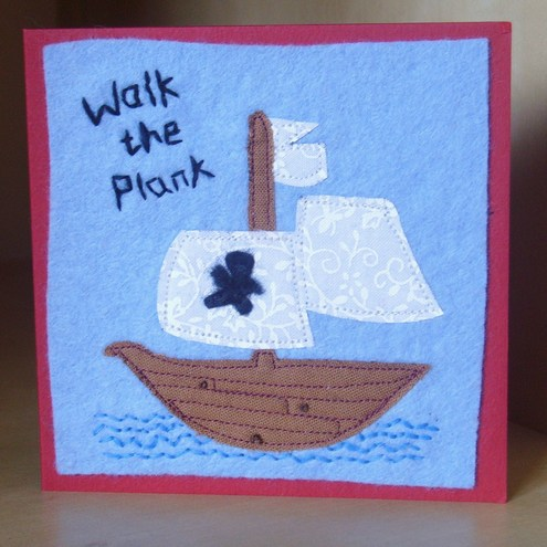 walk the plank pirate ship card