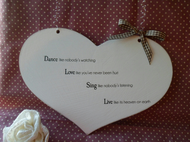 Heart wooden decoration hanging sign plaque quote