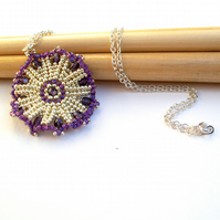 Purple Silver Pendant Necklace - 'Nova'
