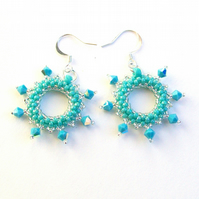 Turquoise 'Halo' crystal earrings