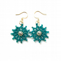 Teal Flower Pearl Earrings - 'Floral Burst'